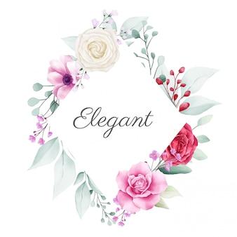 Elegante cornice floreale con decorazioni di fiori colorati per la composizione di carte