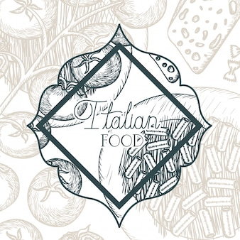 Elegante cornice vittoriana con cibo italiano