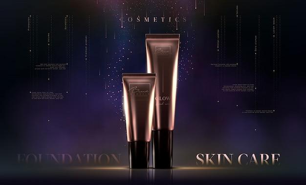 Elegante crema cosmetica dorata di lusso per prodotti per la cura della pelle. modello di fondazione. crema viso di lusso. volantino di annunci cosmetici o banner design. marchio di prodotti di bellezza.