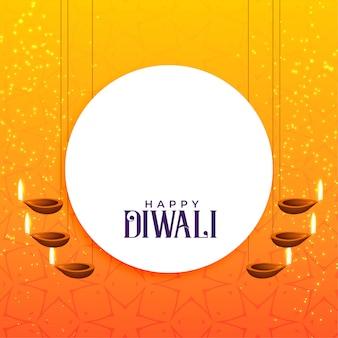 Elegante design di carta diwali con decorazione diya appesa