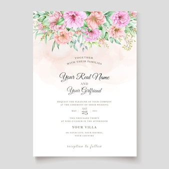 Elegante design floreale dell'acquerello invito a nozze