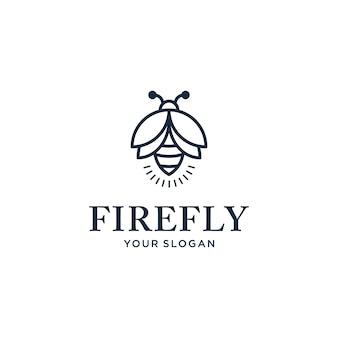 Elegante design minimalista logo lucciola con uno stile di linea