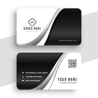 Elegante design ondulato bianco e nero per biglietti da visita