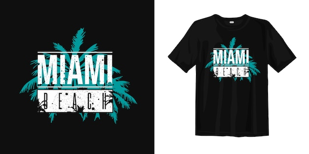 Elegante design t-shirt miami beach con palme