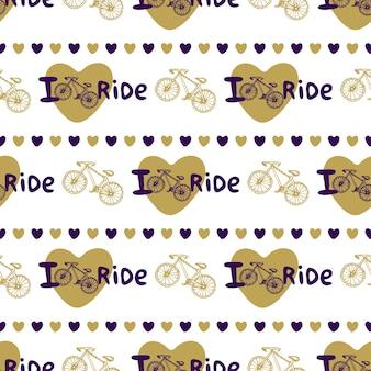 Elegante disegno a mano senza soluzione di continuità con le bici e cuori in colore oro