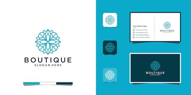 Elegante e minimalista logo floreale per bellezza, cosmetici, yoga e spa. logo design e biglietto da visita