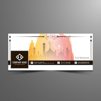 Elegante eid mubarak facebook design banner