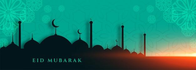 Elegante eid mubarak moschea banner festival design