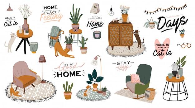 Elegante interno del soggiorno scandic: divano, poltrona, tavolino da caffè, piante in vaso, lampada, decorazioni per la casa. accogliente stagione autunnale.