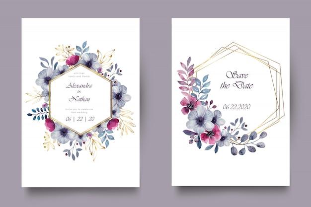 Elegante invito a nozze ad acquerello