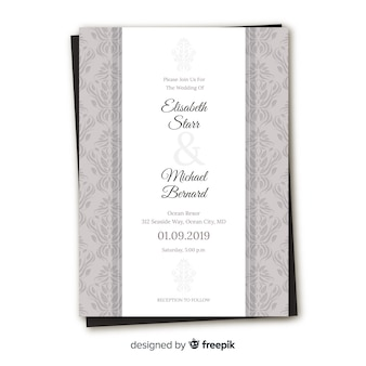 Elegante invito a nozze damascato
