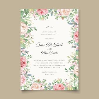Elegante invito a nozze designg con bellissimi fiori