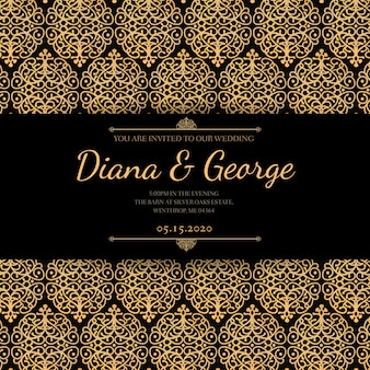Elegante invito a nozze oro e nero