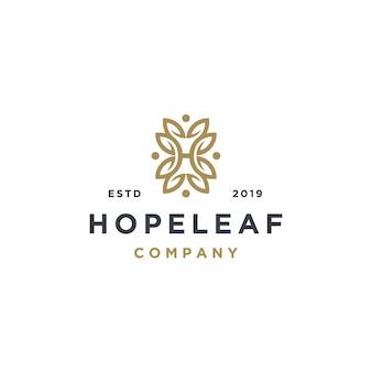 Elegante lettera h con foglia logo design