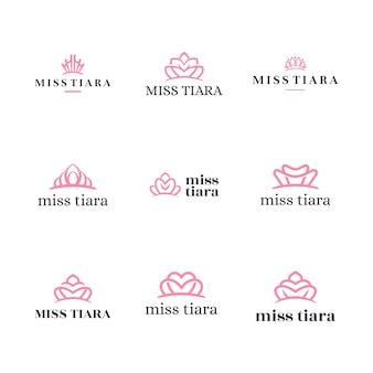 Elegante logo geometrico di lusso vintage beauty royal tiara per la cura della pelle e del viso, moda, trucco, marchio cosmetico 1