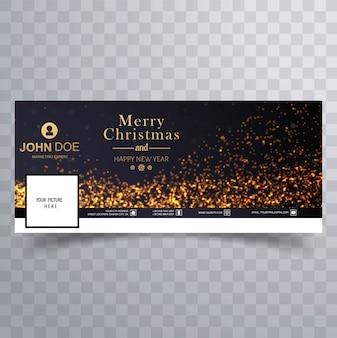 Elegante merry christmas luccica con banner facebook