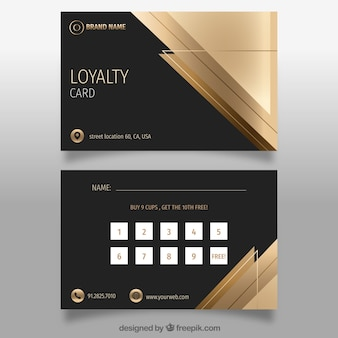 Elegante modello di carta fedeltà con design dorato