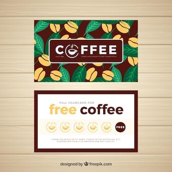 Elegante modello di carta fedeltà della caffetteria
