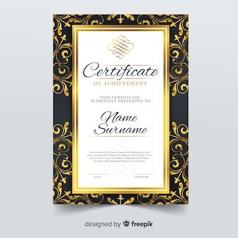 Elegante modello di certificato con cornice ornamentale