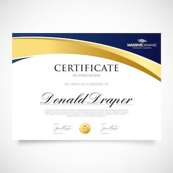 Elegante modello di certificato di apprezzamento