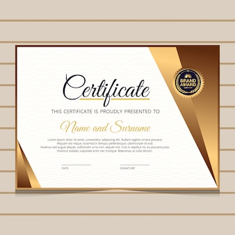 Elegante modello di certificato diploma blu e oro