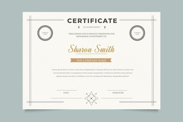 Elegante modello di certificato professionale