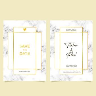 Elegante modello di invito a nozze in marmo con dettagli dorati
