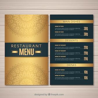 Elegante modello di menu con colore dorato