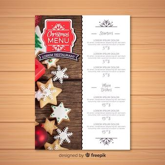 Elegante modello di menu di natale con foto