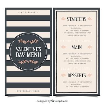 Elegante modello di menu di san valentino