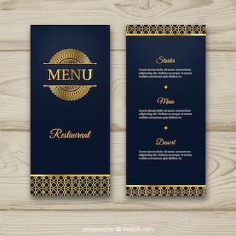 Elegante modello di menu dorato