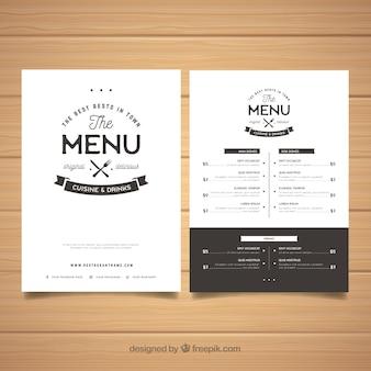 Elegante modello di menu in bianco e nero