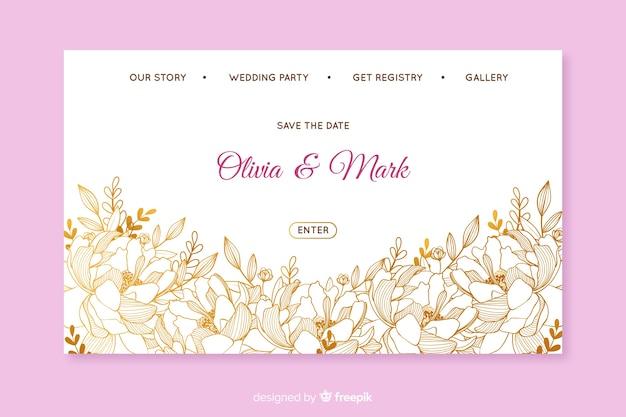 Elegante modello per la pagina di destinazione del matrimonio