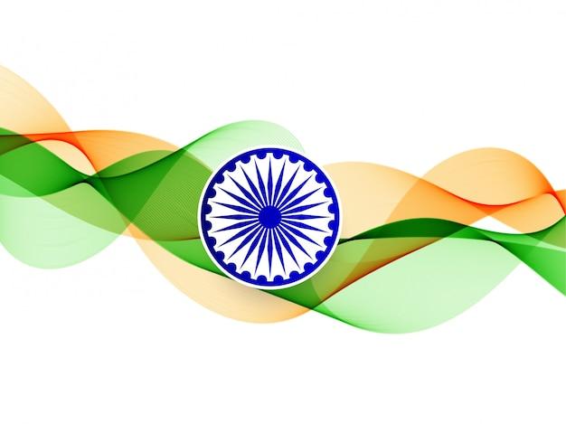 Elegante ondulato bandiera indiana sullo sfondo