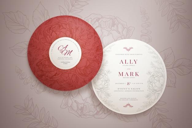 Elegante pacchetto di inviti di nozze rotondi