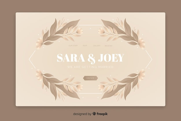 Elegante pagina di destinazione per matrimonio con foglie