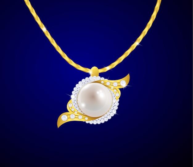 Elegante pendente con gioielli con diamanti e perle