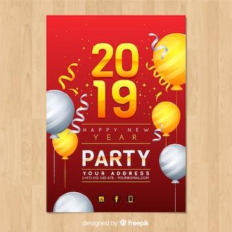 Elegante poster festa di capodanno con un design realistico