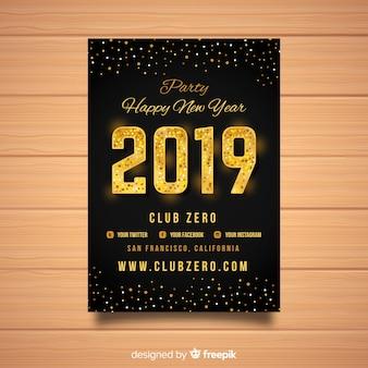 Elegante poster partito di nuovo anno 2019 con elementi d'oro