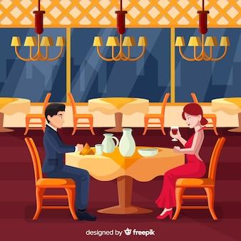 Elegante ristorante interno con design piatto