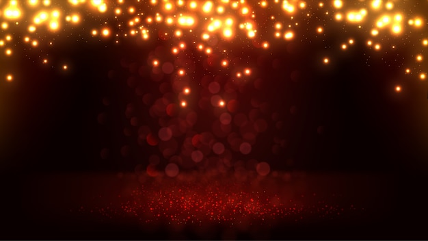 Elegante rosso cadente e glitter oro