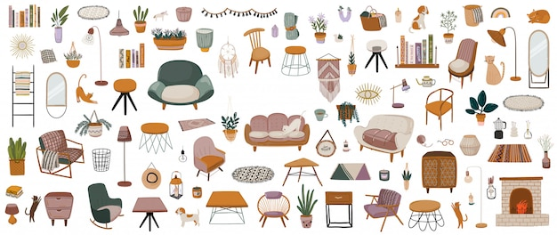 Elegante salotto scandinavo interno - divano, poltrona, tavolino, pianta d'appartamento, lampada, decorazioni per la casa. accogliente appartamento moderno e confortevole arredato in stile hygge.
