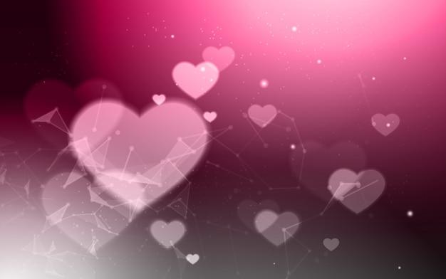Elegante san valentino sfondo sfocato bokeh forme di cuore rosa moderna