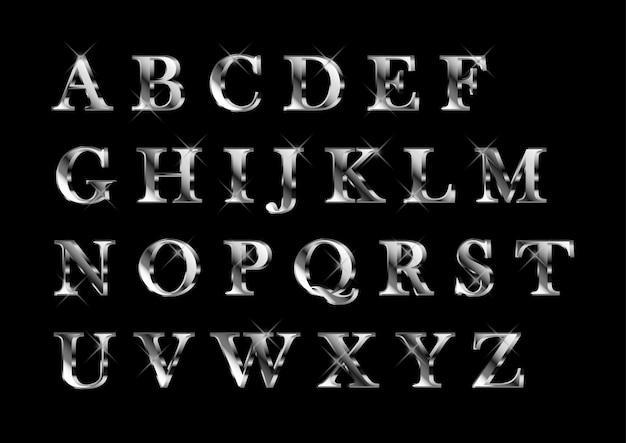 Elegante set di alfabeti in platino argentato lucido