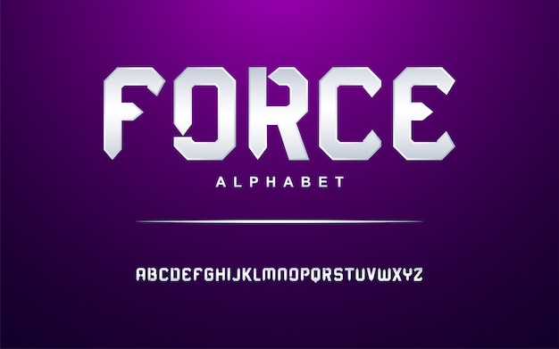 Elegante set di caratteri alfabeto moderno argento