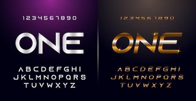Elegante set di caratteri e numeri in metallo cromato color argento e dorato