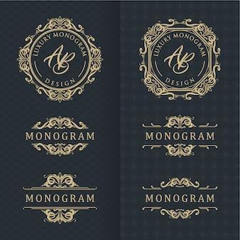 Elegante set di disegni ornamento d'oro con sfondo nero lussuoso
