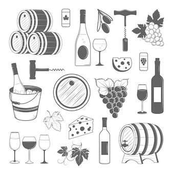 Elegante set di vino di elementi vintage vettoriale