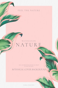 Elegante sfondo botanico con foglie rosa e verde