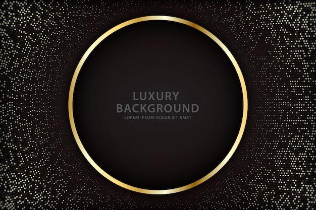 Elegante sfondo con linee circolari dorate e punti scintillanti
